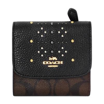 COACH鉚釘黑色真皮拼接深咖C Logo三摺輕便短夾