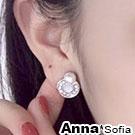 AnnaSofia 貓眼圈珠圓墜 925銀針耳針耳環(銀系)