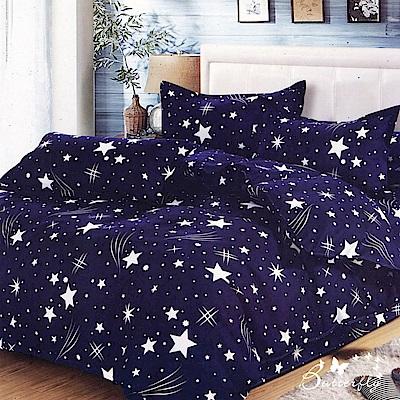 BUTTERFLY-台製柔絲絨單人薄式床包被套三件組-流星雨-藍