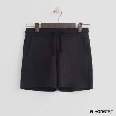 Hang Ten-女裝-素面高腰休閒棉褲-黑