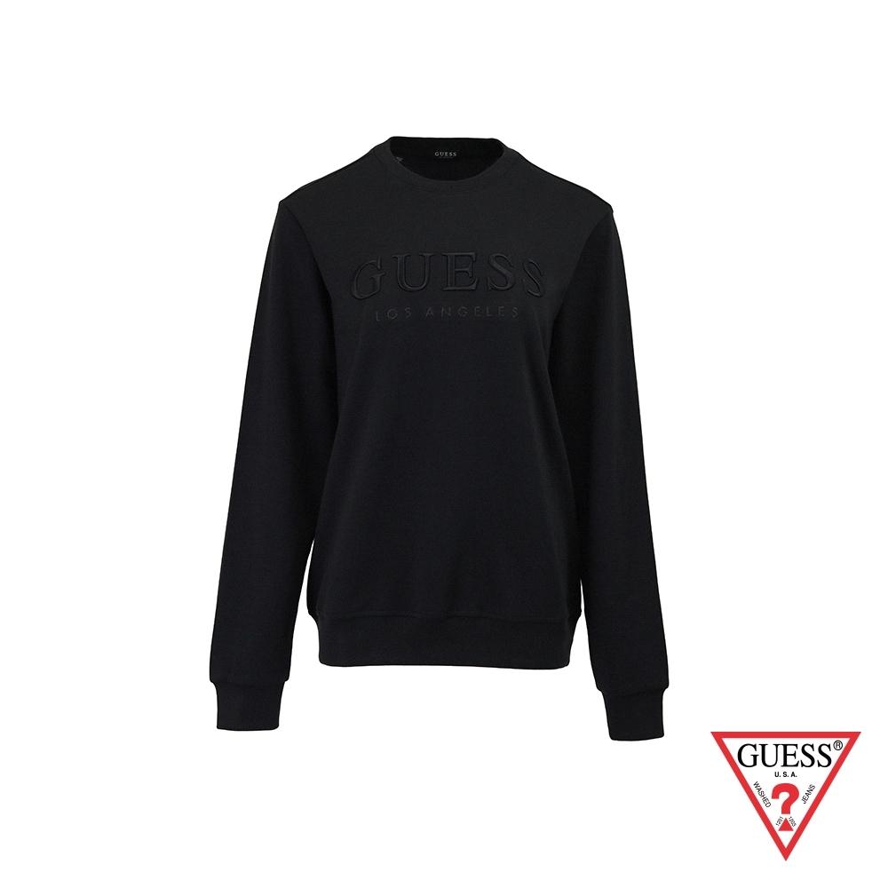 GUESS-男裝-純色刺繡文字LOGO大學T-黑 原價2990