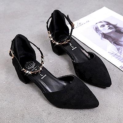 KEITH-WILL時尚鞋館 美搭款璀璨年代粗跟鞋-黑色