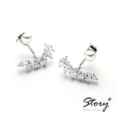 STORY故事銀飾-氣質時尚耳環-Wings珍珠晶鋯耳環