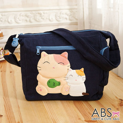 ABS貝斯貓 微笑大貓小貓可愛拼布 斜側背包(海藍)88-189