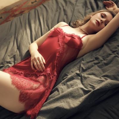 性感睡衣 S曲線蕾絲質感仿真絲性感睡衣 性感女生細肩居家情趣睡衣 流行e線
