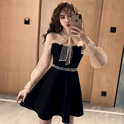 DABI 韓系網紗拼接蕾絲燈籠袖蝴蝶結長袖洋裝