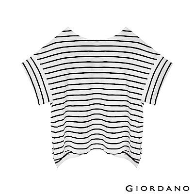 GIORDANO 女裝簡約素色寬版T恤-82 皎雪色X標誌黑色