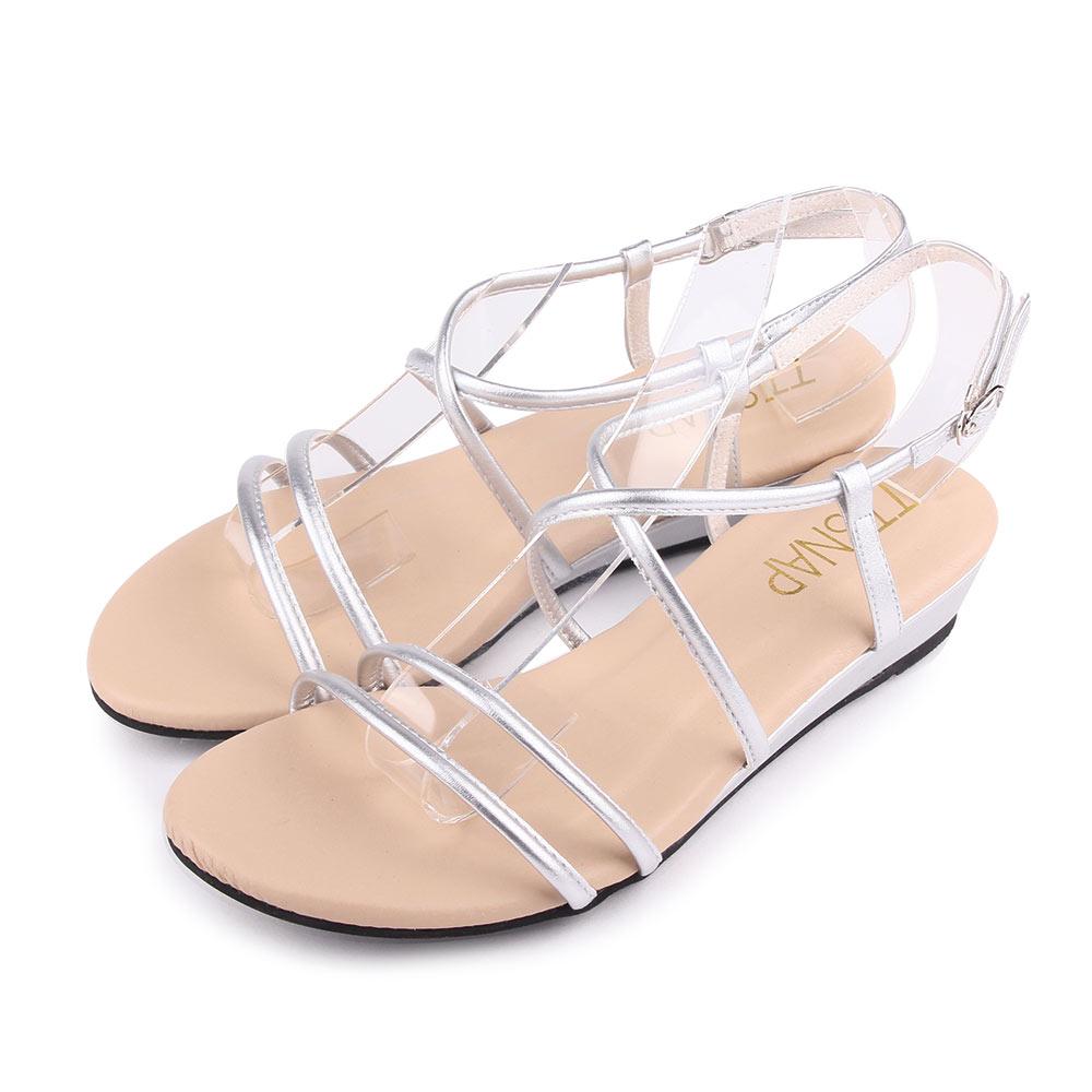 TTSNAP楔型涼鞋-高雅交叉中跟羅馬涼鞋 銀