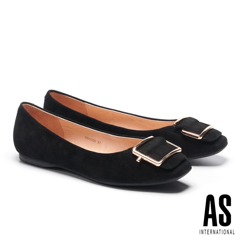 平底鞋 AS 金屬反折帶釦全真皮方頭平底鞋-黑