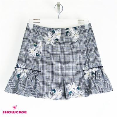 【SHOWCASE】英倫風刺繡格紋細褶襬A字短裙