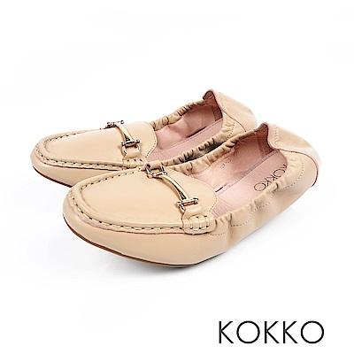 KOKKO -笑眼彎彎柔軟羊皮莫卡辛便鞋-奶油杏