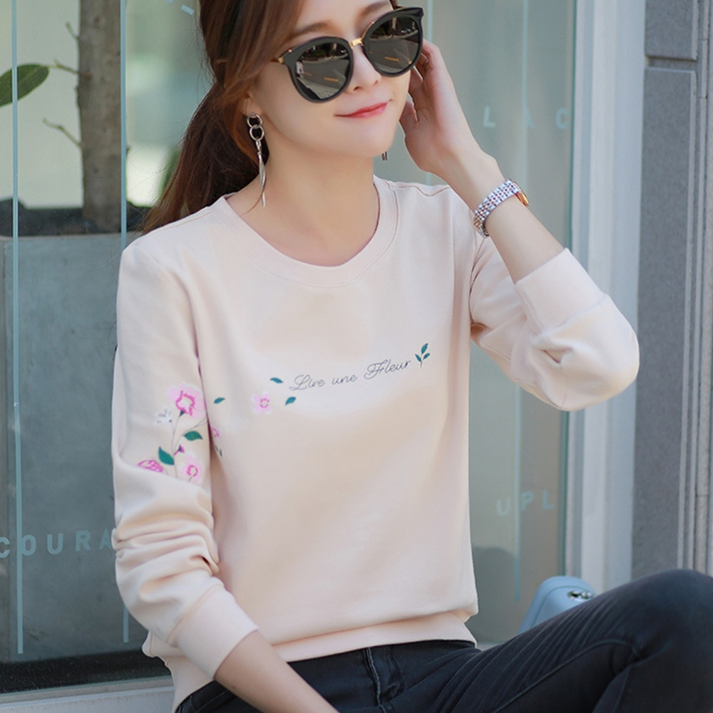 初色  印花棉質長袖T恤-杏色-(M-2XL可選)