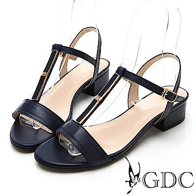 GDC-氣質簡約素色真皮T字粗跟涼鞋-藍色