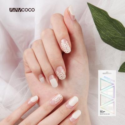 VAVACOCO 光感凝膠光療美甲貼片-白色小花20片(網路款送小搓刀)