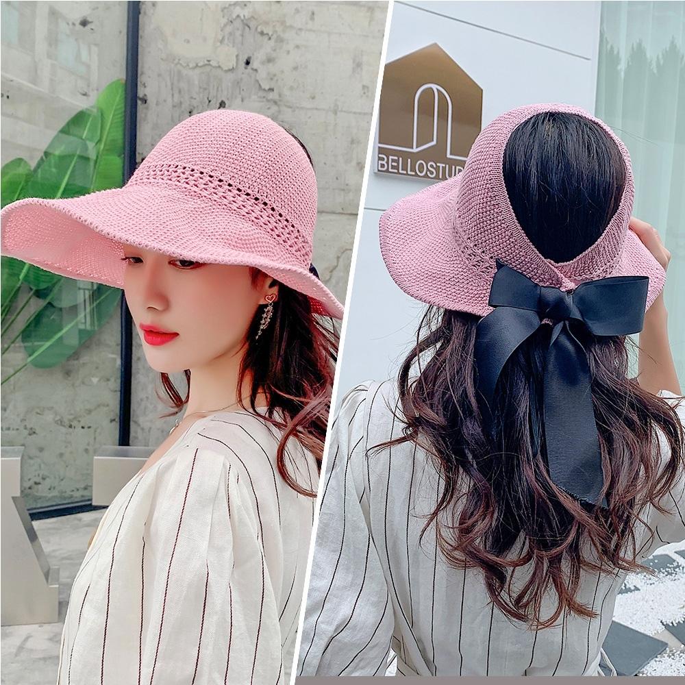 【KISSDIAMOND】大帽檐可折疊編織麻棉遮陽帽(防曬/全防護/好收納/粉色)