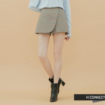 H:CONNECT 韓國品牌 女裝-格紋造型褲裙-棕