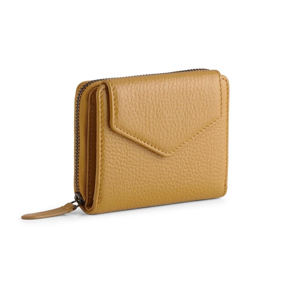 MARKBERG Laura 丹麥手工牛皮蘿拉側翻雙層短夾 錢包(琥珀黃)