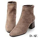 D+AF 時髦宣言.絨面方頭木紋跟襪靴*灰棕