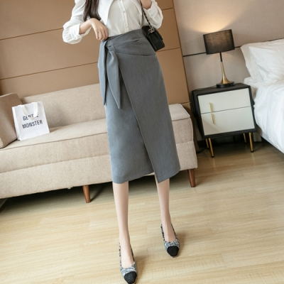 輕熟風腰間抓皺設計小開岔及膝裙S-XL(共三色)-白色戀人