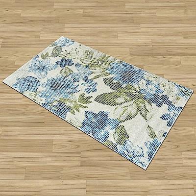 Ambience 比利時Blossom床邊/走道地毯-藍卉(67x130cm)