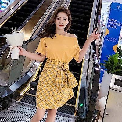 DABI 韓系一字領T恤系帶格子半身裙套裝短袖裙裝