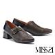 高跟鞋 MISS 21 個性復古品味撞色異材質尖頭高跟鞋-灰 product thumbnail 1