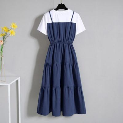 Secret Closet-假兩件式短袖吊帶連身裙