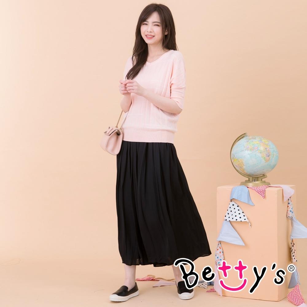 betty's貝蒂思 雪紡百摺寬版褲裙(黑色)