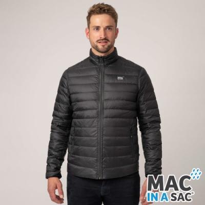 【MAC IN A SAC】男款輕暖袋著走雙面羽絨外套MNS111黑灰/極輕量易攜帶