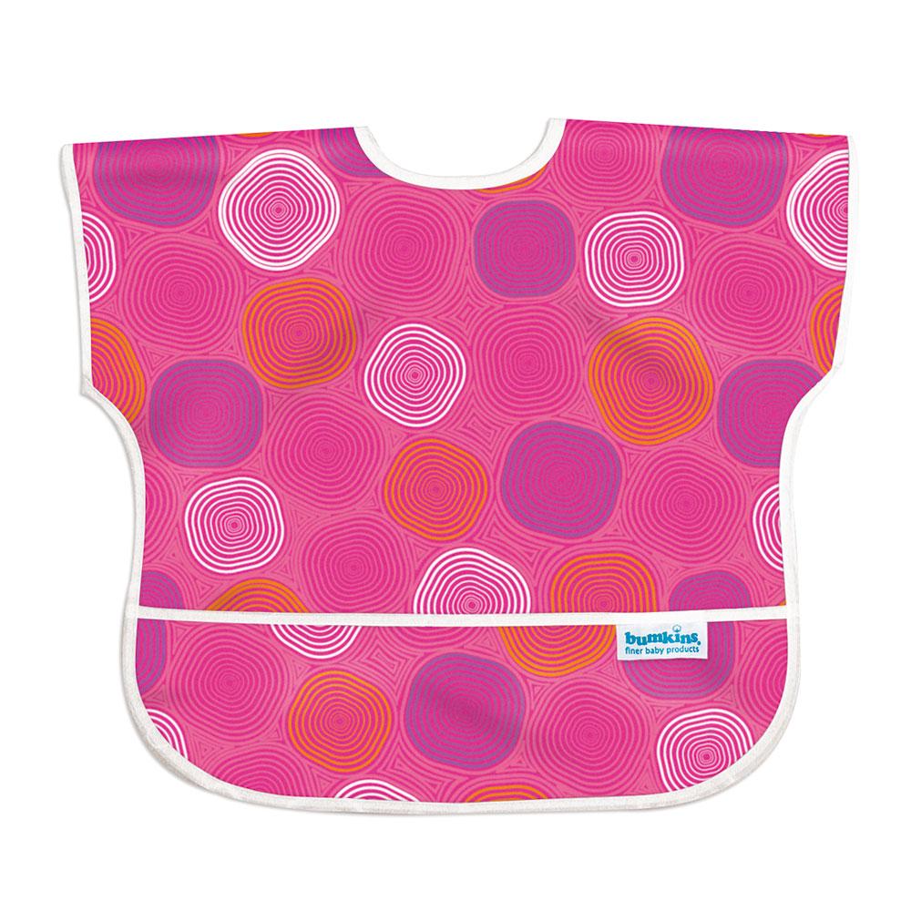 美國Bumkins兒童短袖防水圍兜-粉紅水波紋BKU-905