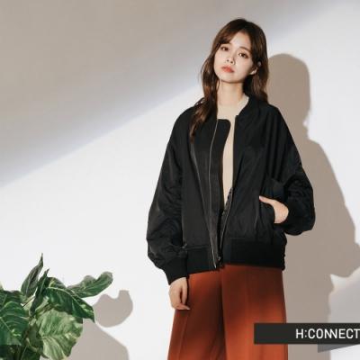H:CONNECT 韓國品牌 女裝-抓皺造型飛行外套-黑