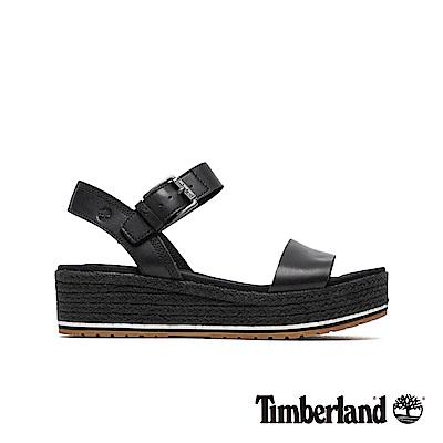 Timberland 女款黑色全粒面草編厚底涼鞋|A1Z1G