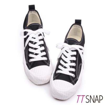 TTSNAP餅乾鞋-細緻帆布綁帶厚底增高平底鞋 黑