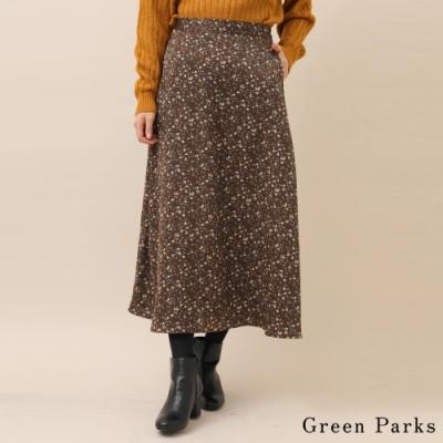 Green Parks 復古花朵緞面喇叭裙