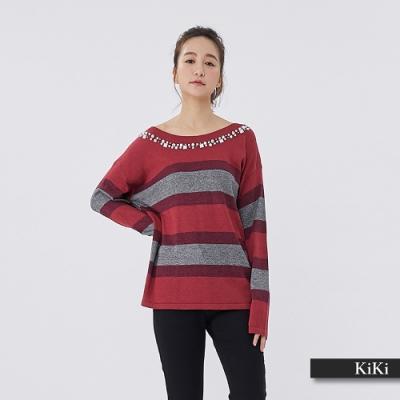 【KiKi】鑽石條紋長袖-針織衫(三色)