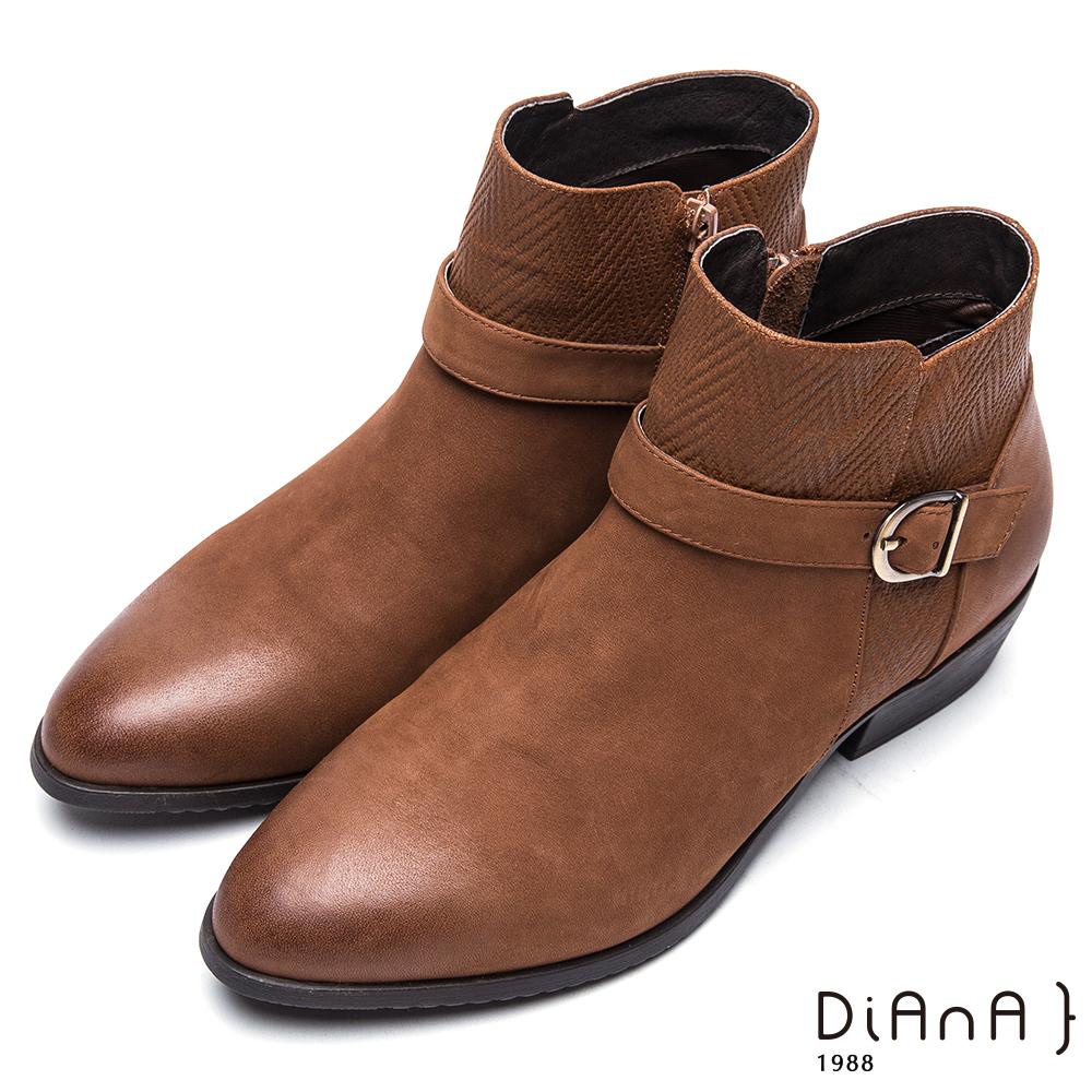 DIANA百搭踝帶編織紋真皮粗跟短靴-率性自我-棕