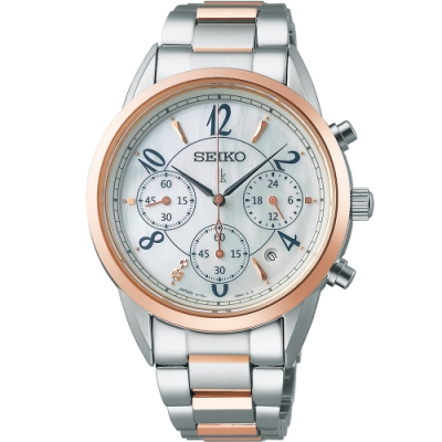 SEIKO 精工 LUKIA 柔美時尚太陽能腕錶(V175-0EX0KS/SSC790J1)36.4mm