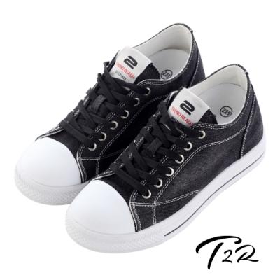T2R-正韓-增高鞋-休閒鞋-帆布鞋-經典牛仔隱形增高帆布鞋 ↑7cm 黑/藍