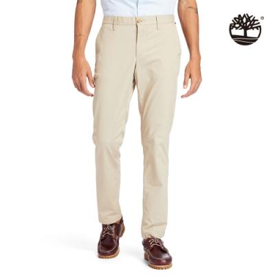 Timberland 男款淺泥土色彈性有機棉休閒長褲|A29PF