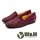 W&M 奢華鑽面 皮革莫卡辛休閒鞋 女鞋 - 紫紅(另有深藍)