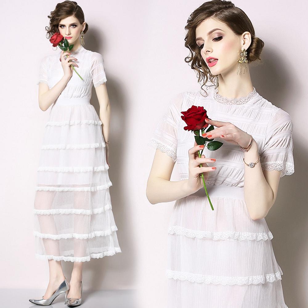 時尚焦點七層裙擺雪紡短袖白洋裝M-2XL-M2M