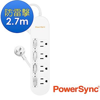 群加 PowerSync 防雷擊4開4插延長線/2.7m(PWS-EEA4427)