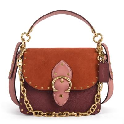 COACH BEAT 18 麂皮拼接撞色皮革金屬C字手提/斜背兩用馬鞍包-鏽紅色/棕咖色
