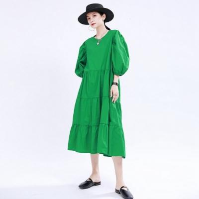 時尚純色露背綁帶泡泡袖蛋糕裙洋裝-F(共三色)-CLORI