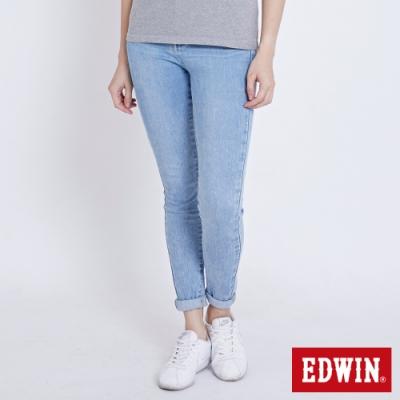 EDWIN MISS 復古高腰 窄管牛仔褲-女-重漂藍