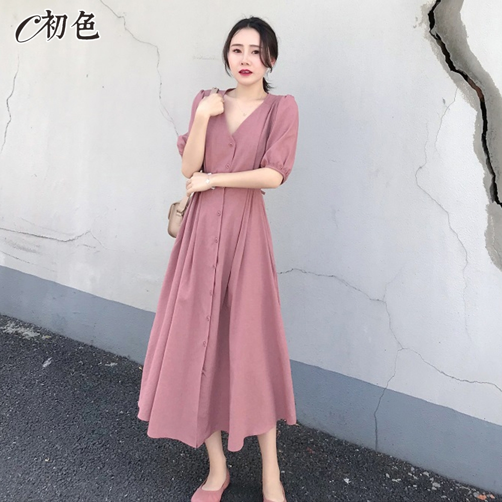 初色  粉嫩浪漫高腰連身洋裝-粉紅色-(M-2XL可選)