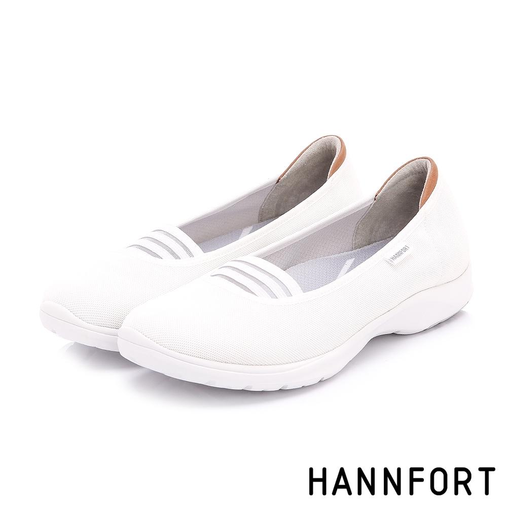 [時時樂限定]HANNFORT 條紋芭雷氣墊健走鞋-白