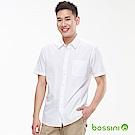 bossini男裝-素色短袖襯衫01白