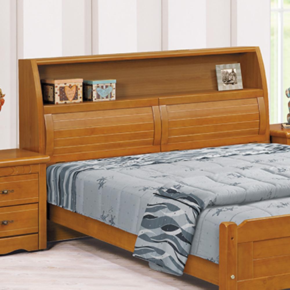 AS-美依雙人5尺實木樟木色床頭-157x29x108cm