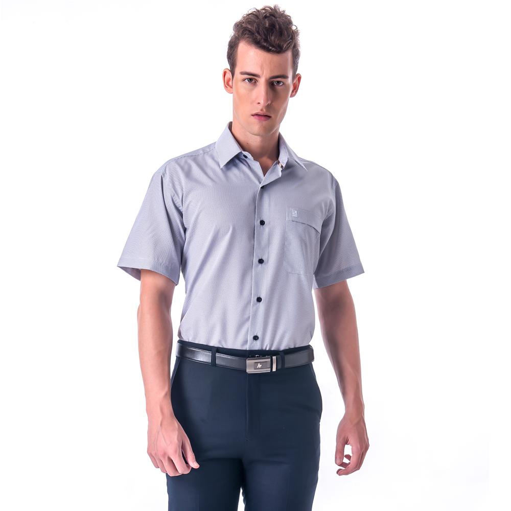 金‧安德森 經典格紋繞領白底黑細格吸排短袖襯衫